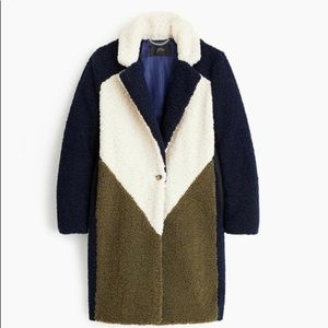 NWT Jcrew Teddy Sherpa colorblocked top coat SMALL